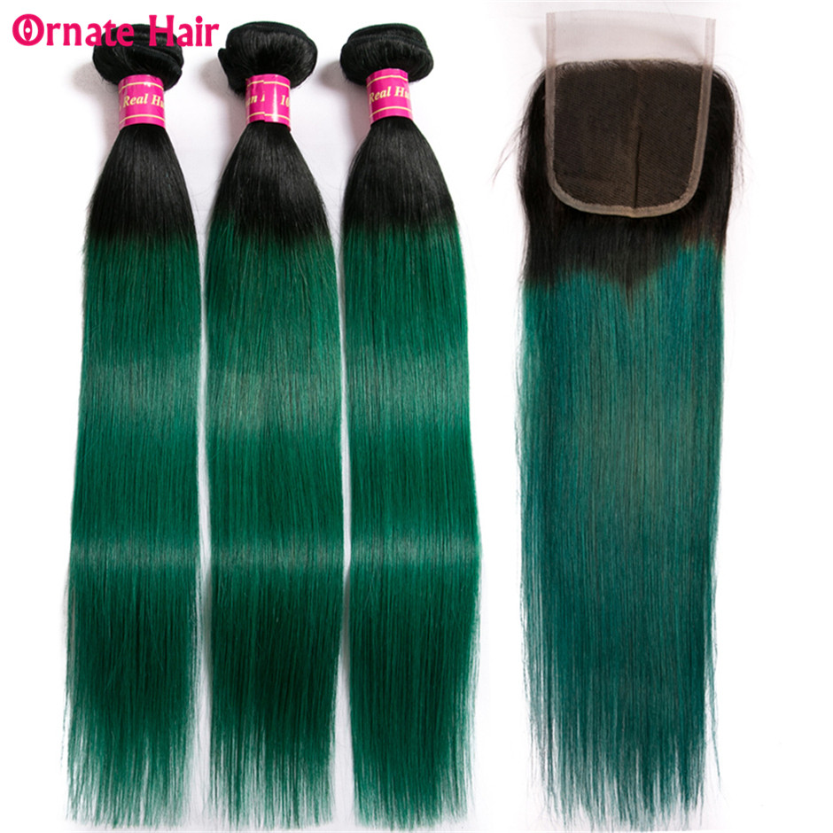 Human Hair Weaves Sexay Pre-colored Ombre Bundles With Closure 3 Bundles With Closure T1b/ Green Dark Roots Turquoise Silk Straight Human Hair Non-Ironing Hair Extensions & Wigs