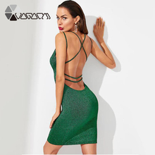 Plus Size Women Sexy Dress Green Deep V Neck Halter Streetwear Bandage Package Hip Club Sequined Mini Dresses