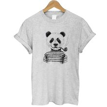 T Shirt Women 2017 Summer Fashion 100% Cotton Funny Panda Prints Short Sleeve O-Neck T-shirt White Grey Tops Shirt