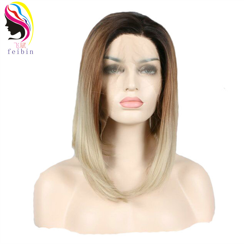 Feibin Synthetic Hair Lace Front Wigs Bobo Straight Ombre Color 14 inches 35cm Full Head Wig High Temperature Fiber Bo27