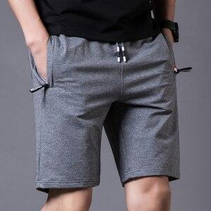 Image 3 - Шорты мужские пляжные хлопковые, повседневные однотонные бордшорты, эластичные модные короткие бриджи, лето 1012