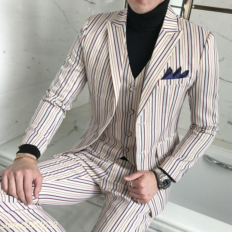 5XL Mens Wedding Suits Sky Blue Stripe Suits Mens Social Terno Slim Fit Tuxedo Jackets Mens Korean Stylish Prom Suits Party