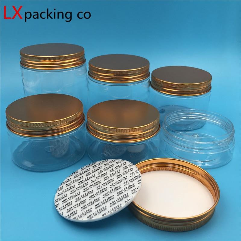 30 pcs Free Shipping Transparent Plastic Empty Jar bottles Rose gold Aluminum Lid Clear Spice Cream
