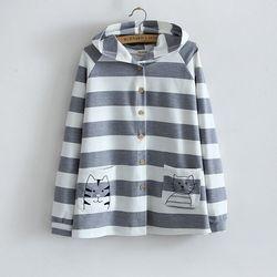 Women 2016 font b cat b font striped hooded cardigans font b jackets b font coats.jpg 250x250