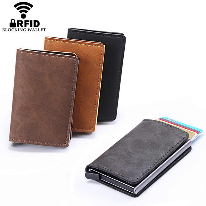 2019 New RFID Blocking Metal ID Credit Card Holder Money Cash Clip Mini Men Wallet Business Aluminum Automatical Bank Card Case