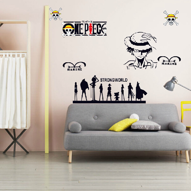 New anime manga one piece kids cartoon wall stickers home for Piece of living room decor