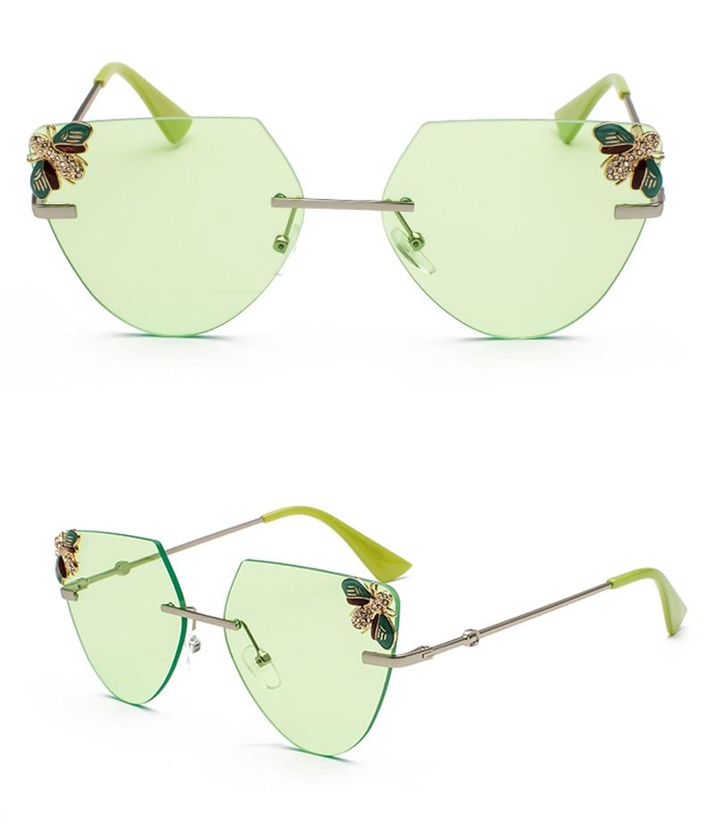 Rhinestone Cat Eye Sunglasses Ladies Triangle detail (9)
