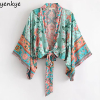 2018 Women Floral Printed Boho Kimono Summer Blouse Loose Fitting Sleeve Open Stitch Plus Size Crop