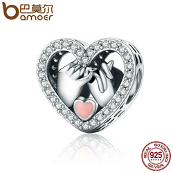 BAMOER Romantic Genuine 925 Sterling Silver Promise For Love Heart Beads fit Original Charm Bracelet DIY Jewelry Gift SCC167