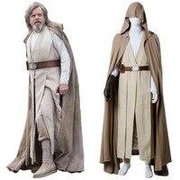Star Wars 8 The Last Jedi Cosplay Luke Skywalker Costume Cape Outfit Adult Men Luke Skywalker Cosplay Costume Ver.2 Full Sets