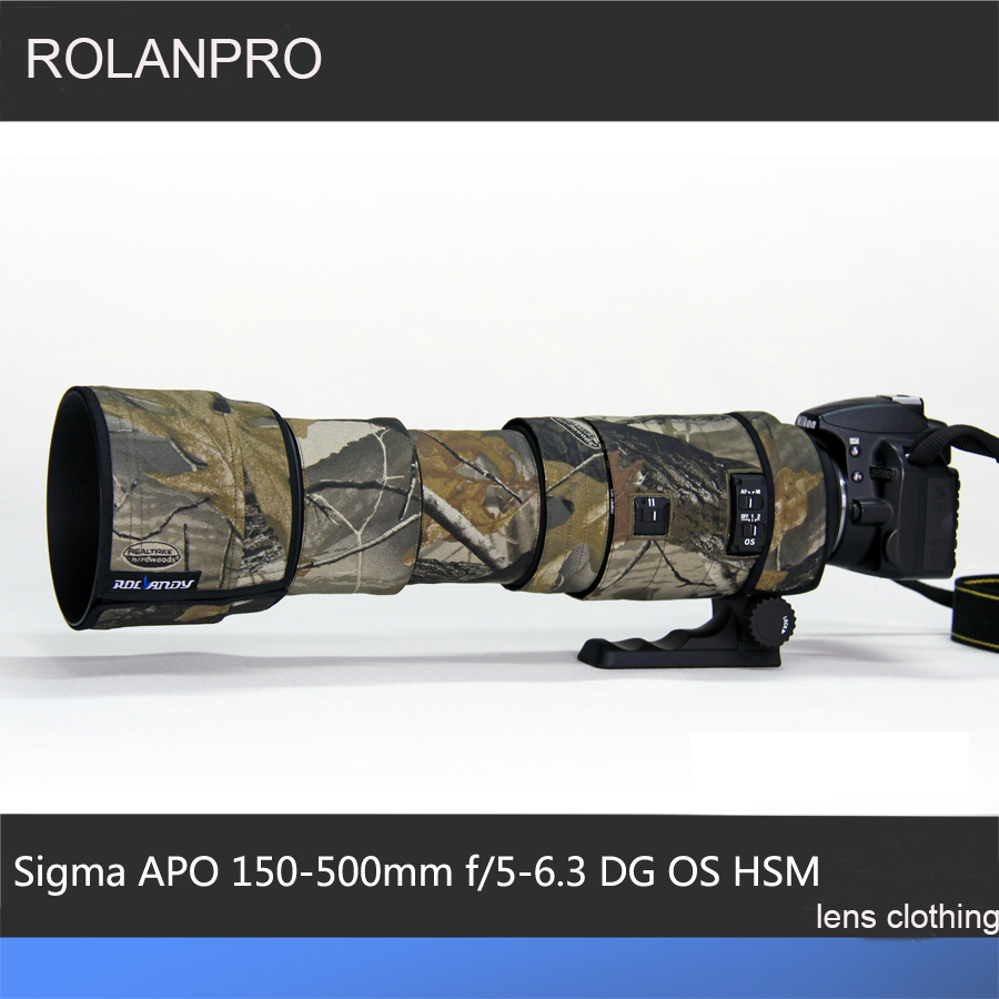 ROLANPRO Lens Camouflage Rain Cover for Sigma APO 150-500mm f/5-6.3 DG OS HSM Lens Protective Case Guns Clothing Lens Sleeve rolanpro lens camouflage rain cover for canon ef 400mm f 4 do is usm lens slr gun clothing protective case guns clothing cotton