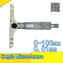 Cheaper Depth Micrometer 0-100mm/0.01 Ratchet Stainless Steel Calipers Measuring Tools
