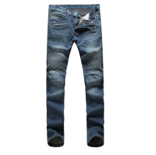 Free Shipping !!! 2015 New Brand Knee Level Folds Washed Blue Jeans Men's Locomotive Jeans / 28-36