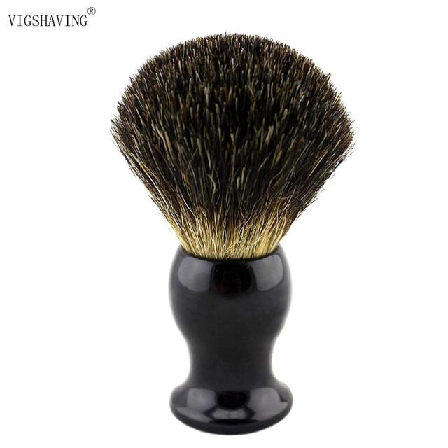 VIGSHAVING Стиль 1 # Черный Цвет Смола Ручка Чисто Черный Барсук Волос, Кисточки Для Бритья