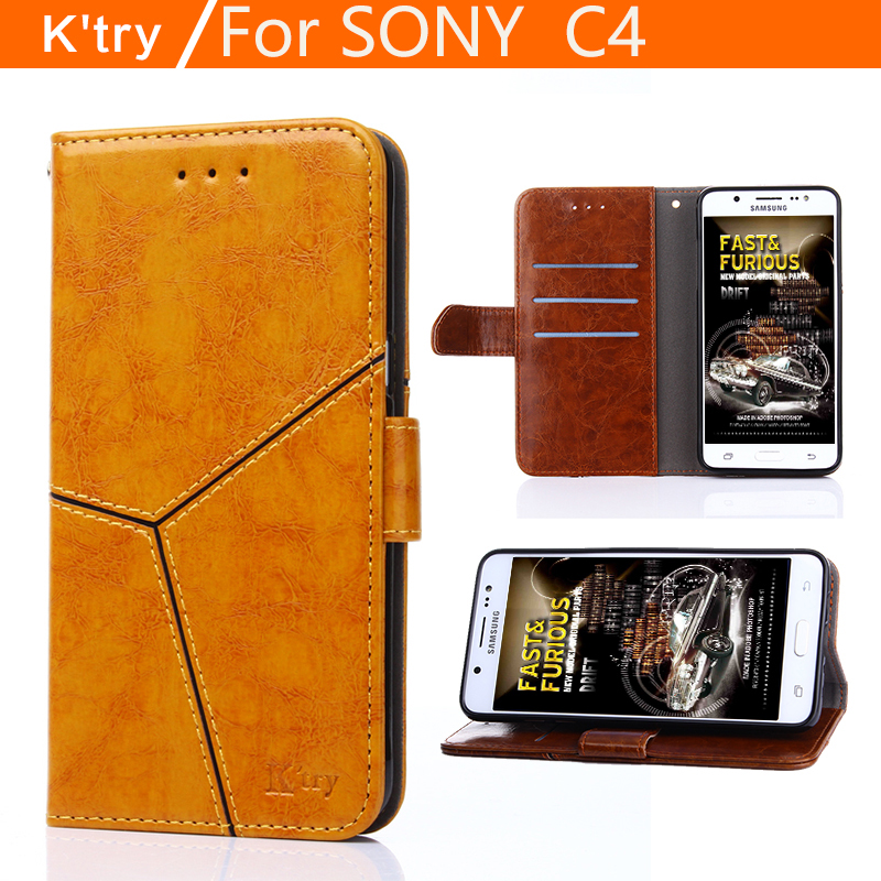 Hot Luxury High taste high-end flip stents PU leather phone back cover kFor Sony Xperia C4 Dual E5333 E5303 case