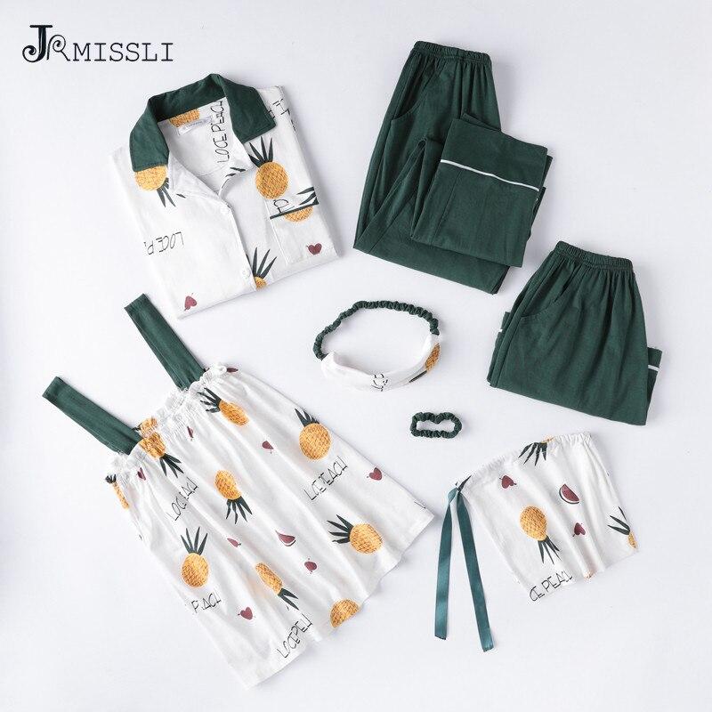 JRMISSLI Printemps 7 pièces Ensemble Coton Élégant Femmes Pyjamas Ananas Impression pyjama Set Top Élastique Taille Pantalon Salon Complet