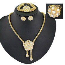 Gold Plated Jewelry Sets For Women Jewelry Fashion Women Wedding Jewelry Sets Necklaces Bracelets Stud Earrings Rings Jewelry