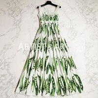 Svoryxiu Runway Custom Summer Cotton Maxi Dress Women's High Quality Manual Tailor Green Pea Print Spaghetti Strap Long Dress