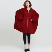 Pluz Size Cotton Loose Women Jacket Solid Color Long Sleeve Casual Bat Sleeve Hood Wild Women