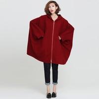 Pluz Size Cotton Loose Women Jacket Solid Color Long Sleeve Casual Bat Sleeve Hood Wild Women