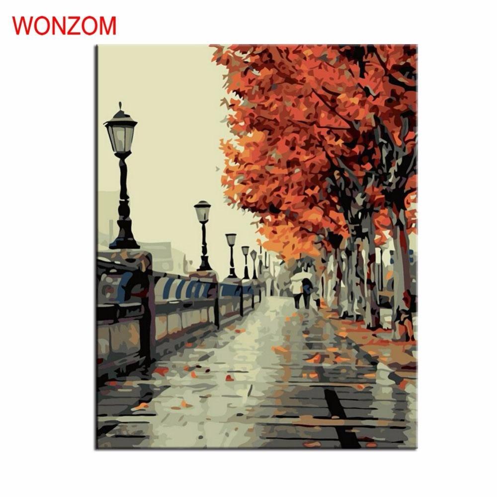 WONZOM Autumn Street Diy Schilderij Nummers WalkOil Schilderij Boom Cuadros Decoracion Acrylverf op doek Modern Wall Art