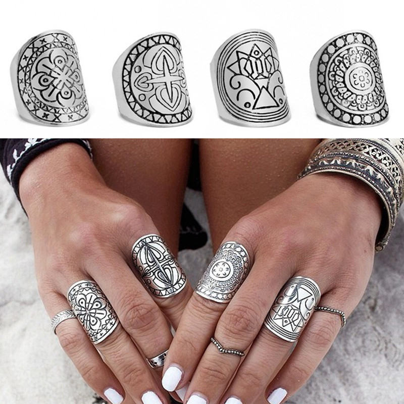 Set/4 Bohemia Midi Rings for Women Fashion Antique Tibetan Silver Color Carved Knuckle Finger Bague Femme Boho Jewelry 2017