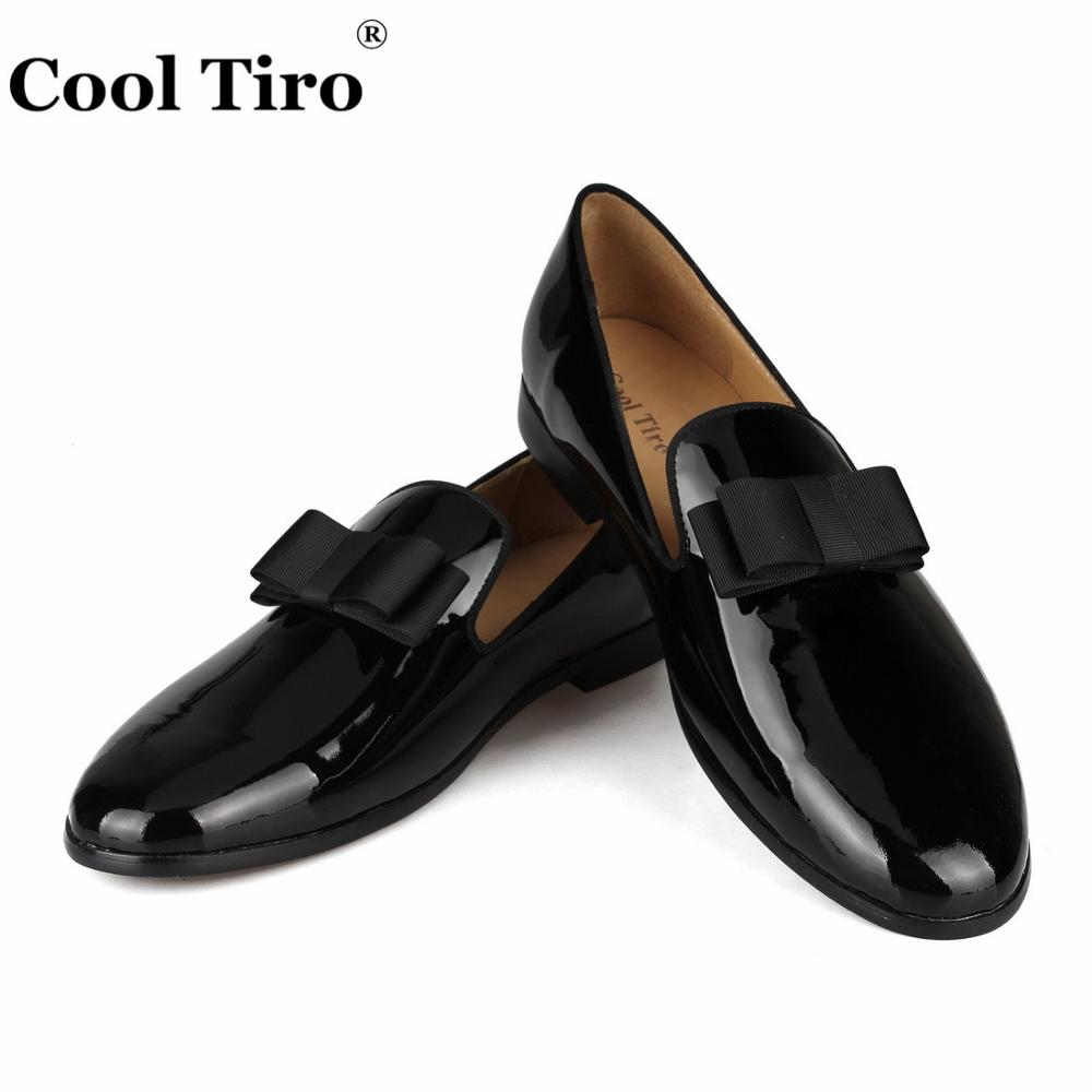 Cool Tiro Black Patent leather Loafers Men s Moccasins Slippers Bow tie Men s Dress Shoes