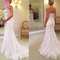 Vestido De Noiva White Vintage Lace Mermaid Wedding Dresses Strapless Court Train Wedding Gowns Robe De Mariage