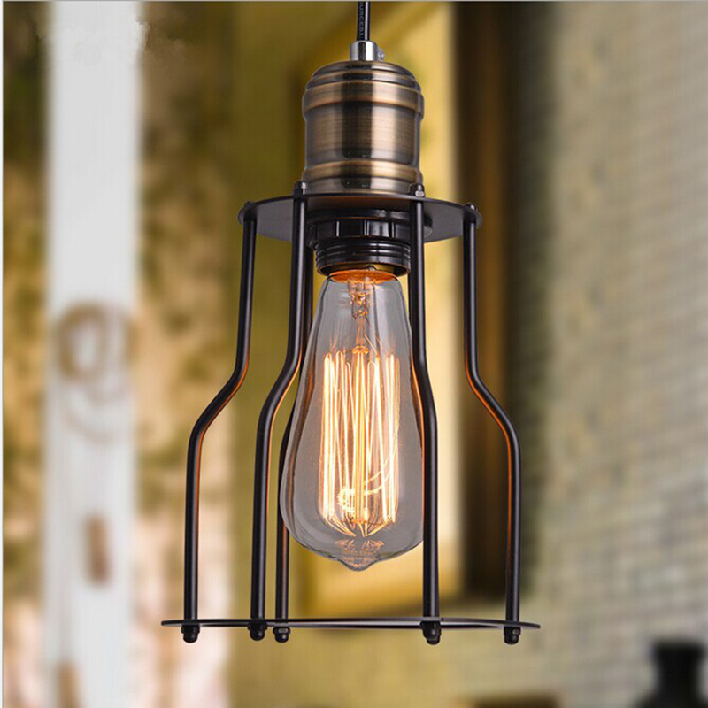Loft Vintage Industrial Retro Pendant Lamp Edison Light E27 Holder Iron Restaurant Bar Counter Attic Bookstore Cage Lamp new style vintage e27 pendant lights industrial retro pendant lamps dining room lamp restaurant bar counter attic lighting