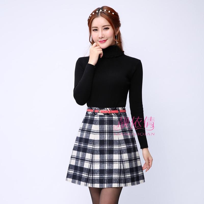 2016 hiver printemps dames doux épais chaud laine jupes femmes taille haute genou-longueur Plaid jupe femme mode Kilt avec ceintures