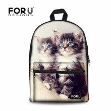 Forudesigns/Винтажные женские парусиновые Sacs à DOS с животное кошка печати Школьный рюкзак для колледжа студенческие повседневные Mochila ранцы