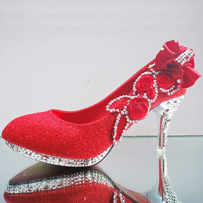 Womens single shoes rhinestone white wedding crystal bridesmaid shoes high-heeled fine with red bridal wedding shoes