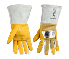 цена на Welding gloves high temperature resistant welder glove cowhide aluminum heat resistant TIG MIG Work Glove