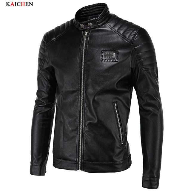 2016 New Leather Jacket Men Fashion Leather Motor Jacket Casual Leather Jacket Men Black Slim jackets Plus Size M-XXXXXL