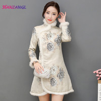 HANZANGL Chinese Traditional Women Long Sleeve Cheongsam Dress Qipao Thick Warm Wool Collar Retro Printing Winter Cheongsam Coat