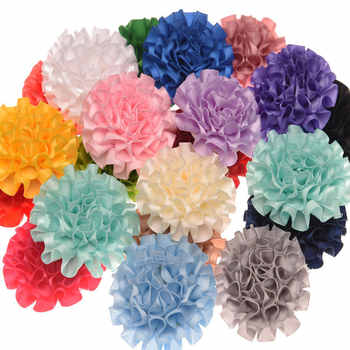200pcs Solid Flower Polyester Hair Flower 6cm Hair Accessory DIY Accessories Flower Headwear 20 Color U-Pick
