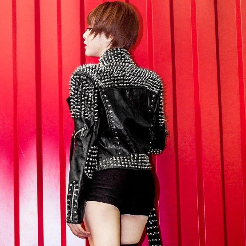Luxe Pu Automne Survêtement Femmes Veste Nouveau Cuir Noir Faux Vestes Spike 2016 Clouté Mode Rivet Streetwear Moto De 0wrf0qpx