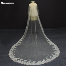 2017 Real Photos 2 Layers 3 Meters Champagne Color Lace at Bottom Wedding Veil Beautiful Long Bridal Veil