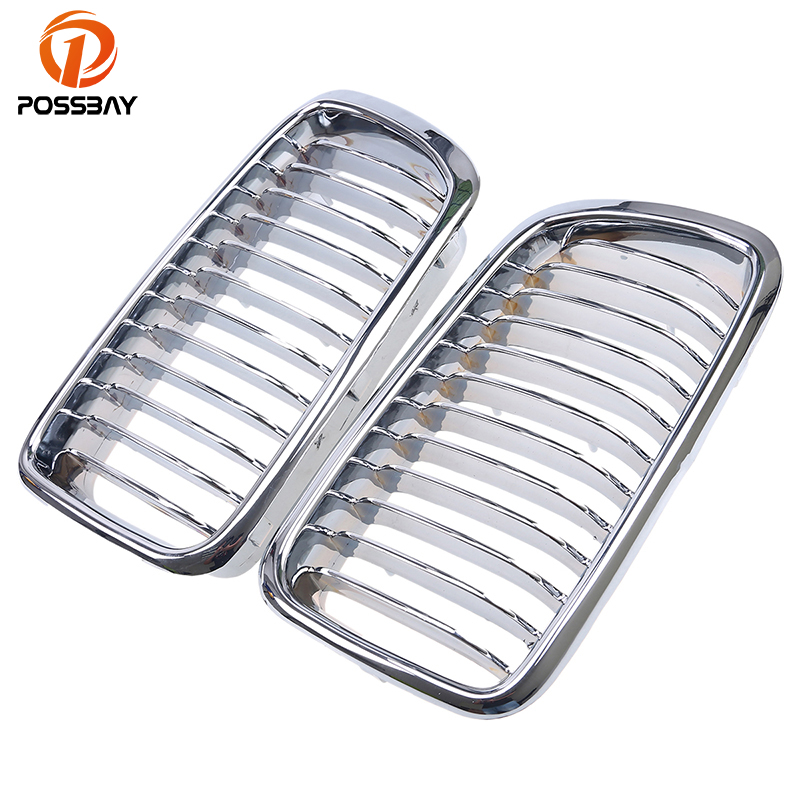 POSSBAY Chrome Silver Front Hood Kidney Sport Grille Grills for BMW 7 Series E38 730iL 735i