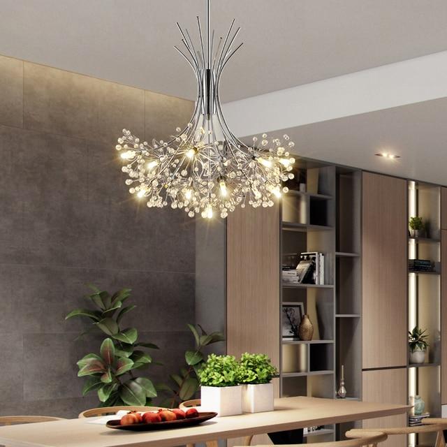 Moderne LED lustre éclairage nordique restaurant pendentif lampes chambre luminaires salle à manger cristal suspendus lumières