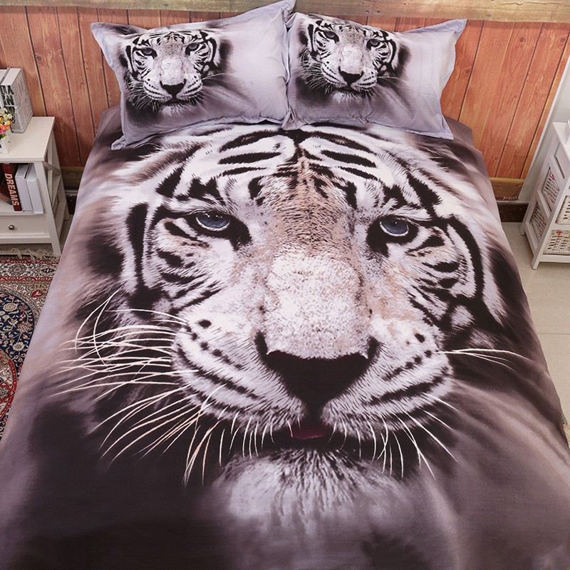 Wongsbedding 3D Tiger Animal Bedding Sets Print Duvet Cover Bed Set Double Queen King Size 3/4PCS New Bedclothes No Comforter