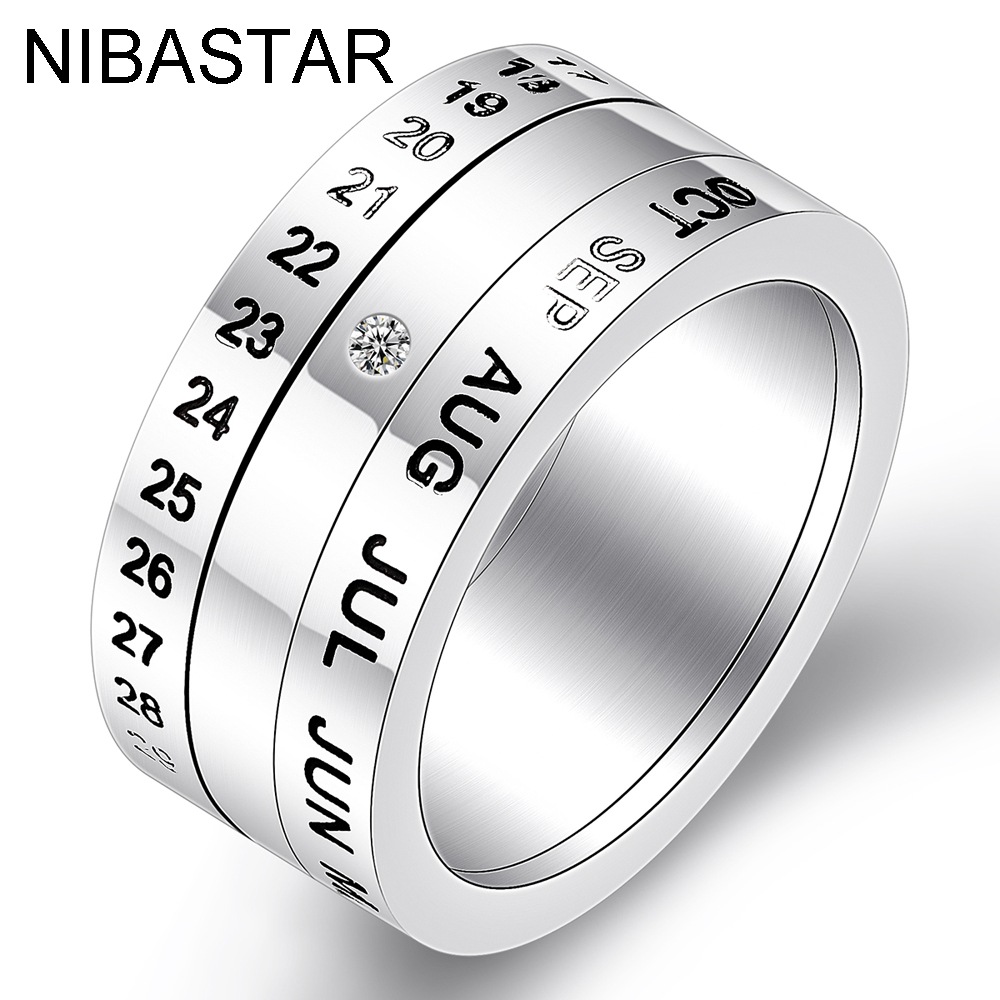 Fashion Number and Month Calendar Letter Rotatable rings for men 316L Stainless Steel Punk Party Ring Jewelry Wholesale(China)