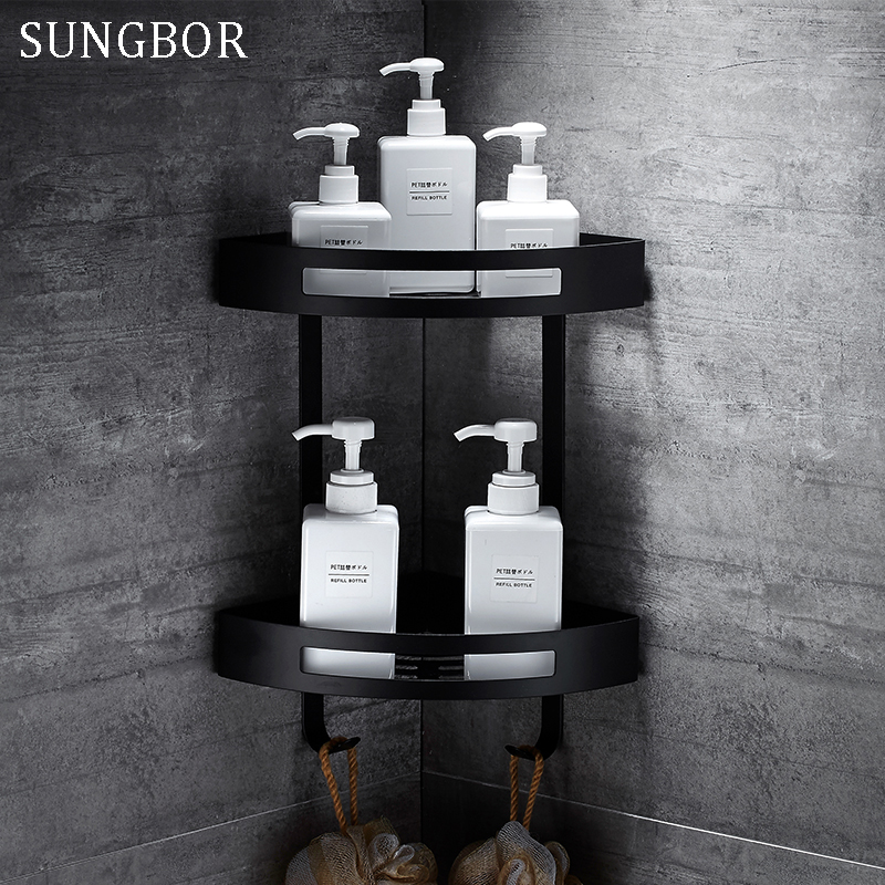 Stainless Steel 304 Black Bathroom Corner Shelf Shower Room Rack For Body Wash Bottle Toilet Corner Table Shelf Rack Holder