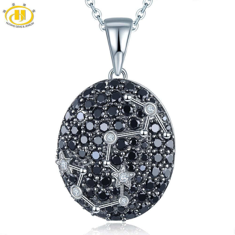 Hutang scorpion Constellation pendentif pierre gemme noir spinelle 925 argent collier cadeau d'anniversaire pour les femmes 24th Oct jusqu'à 22th Nov-in Pendentifs from Bijoux et Accessoires    1