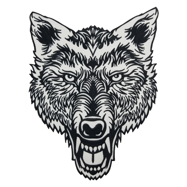 e527f2d2be0ef Lone Wolf Head Tattoo Reflective Embroidered Patch Biker Back Applique Iron  Sew On Badges 12 Inch High Free Shipping