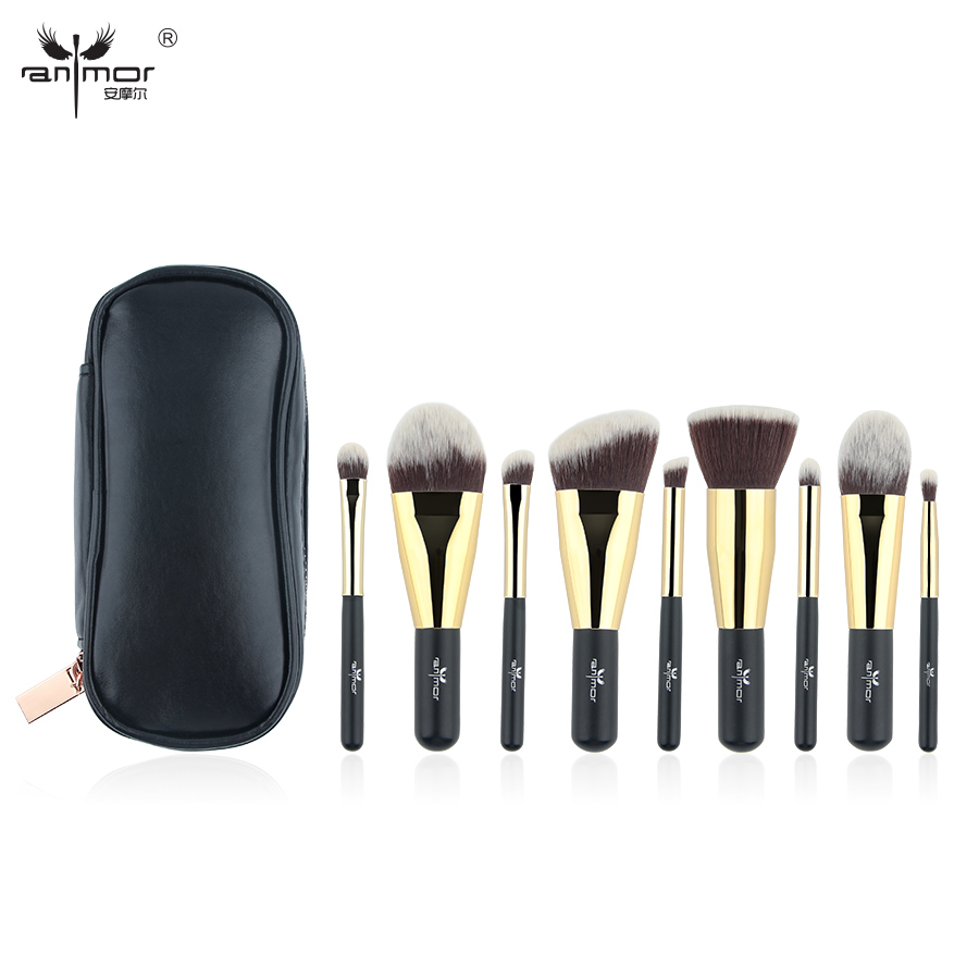 Image 2 - Anmor Hot Sale 9 Pieces Synthetic Hair Makeup Brushes with Sliver Color Bag Beautiful Traveling Makeup Brush Set B001-in Eye Shadow Applicator from Beauty & Health