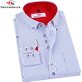 DRESSERVICE 2016 New Men's Striped Long-sleeved Shirt Large Size High-end Business Casual Shirt Clothing Brand Dress Male