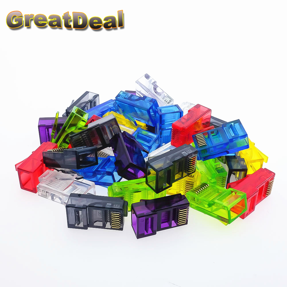 50/100pcs Colorful CAT5 CAT5e RJ45 Connector RJ45 Modular Plugs Network Ethernet Cable Plug RJ45 Connectors HY1544 24 pcs rj45 modular network pcb jack 56 8p w led 4 ports