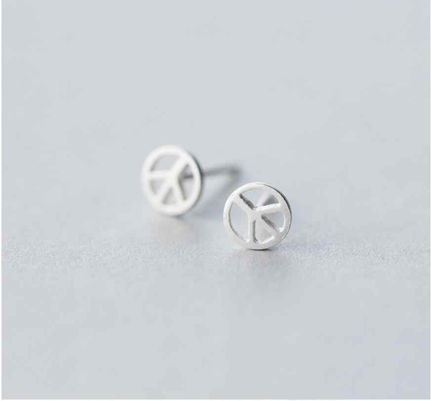 100% 925 Sterling Silver Round Stud Earrings For Women Gift sterling-silver-jewelry Female pendientes mujer moda 2018 A078