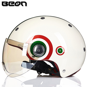 Image 5 - Мотоциклетный шлем BEON с полулицевой поверхностью, винтажный мотоциклетный шлем с открытым лицом, шлем для скутера, велосипедный шлем M L XL